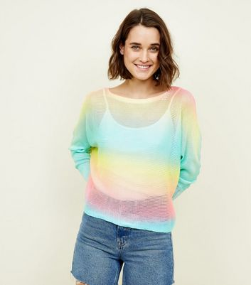 Cameo Rose Rainbow Fine Knit Jumper