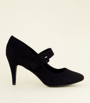 Wide Fit Black Suedette Buckle Mary Jane Courts