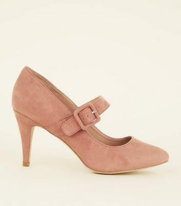 Wide Fit Pink Suedette Buckle Mary Jane Courts