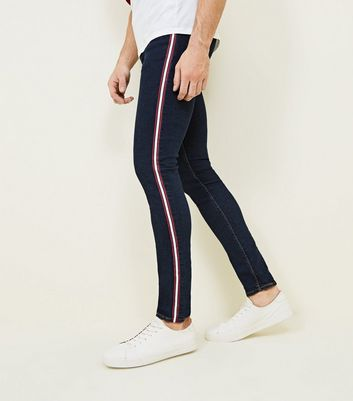 Navy Side Stripe Skinny Stretch Jeans