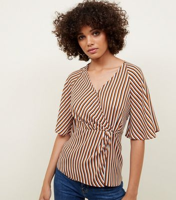 White and Rust Stripe Twist Wrap Front Top