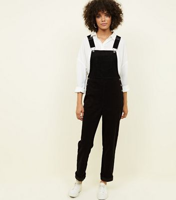 Black Cotton Corduroy Dungarees by New Look