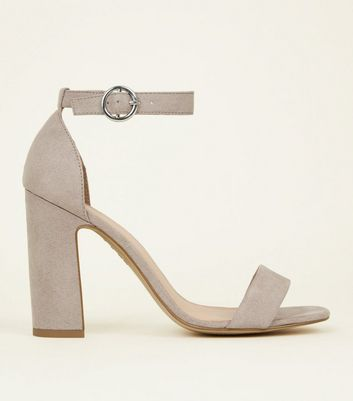 Grey Suedette Barely There Block Heels