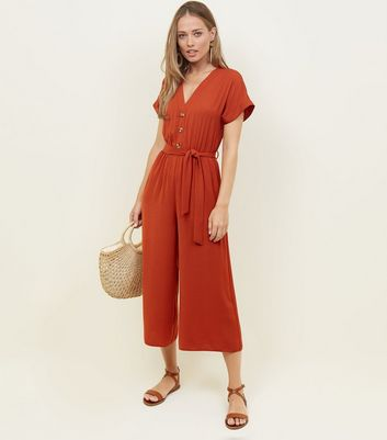 Orange Button Front Linen-Look Jumpsuit