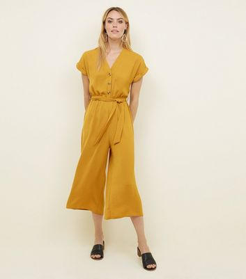 Mustard Button Front Linen-Look Jumpsuit