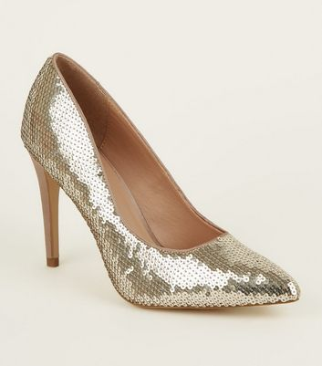 Gold Sequin Pointed Heeled Court Shoes