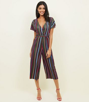 Black Rainbow Stripe Ribbed Jumpsuit