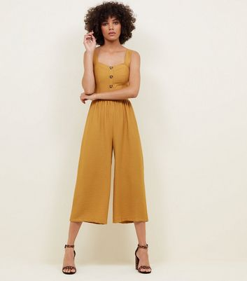 Yellow Button Through Culotte Jumpsuit