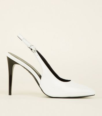 White Patent Stiletto Heel Pointed Slingbacks