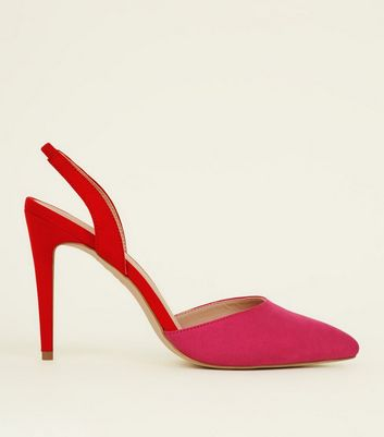 Pink Two Tone Slingback Pointed Courts