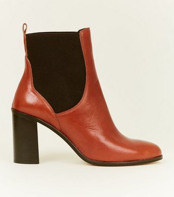 Tan Premium Leather Block Heel Chelsea Boots