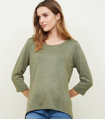 Olive Green 3/4 Sleeve Fine Knit Top