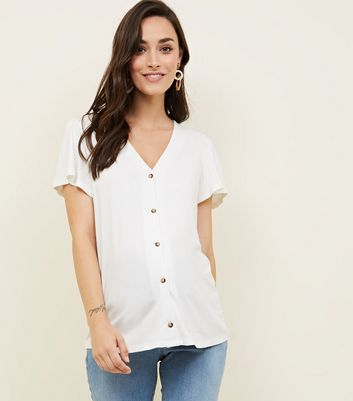 Maternity Off White Button Front T-Shirt