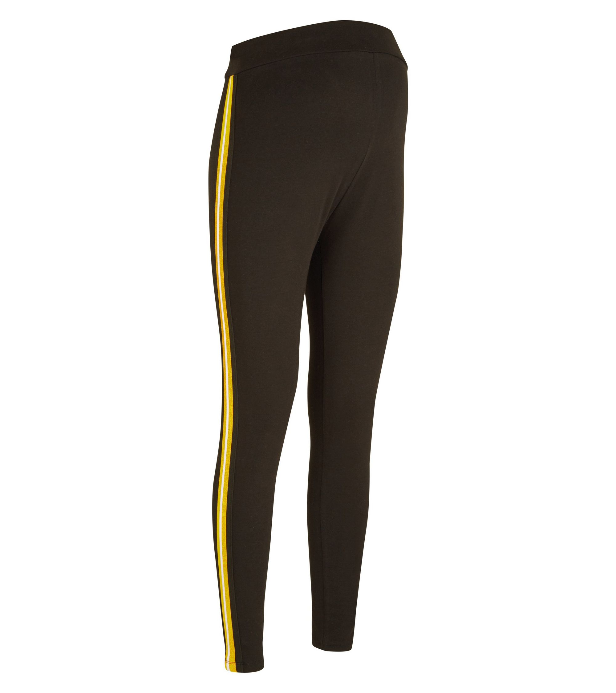 31efc205b89932 New Look Maternity Black and Mustard Side Stripe Leggings at £12.99 ...