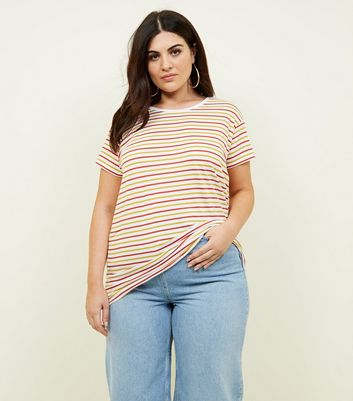 Curves White Multi Stripe Oversized T-Shirt