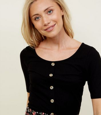 Petite Black Ribbed Button Front T-Shirt