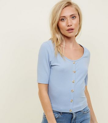 Petite Blue Ribbed Button Front T-Shirt