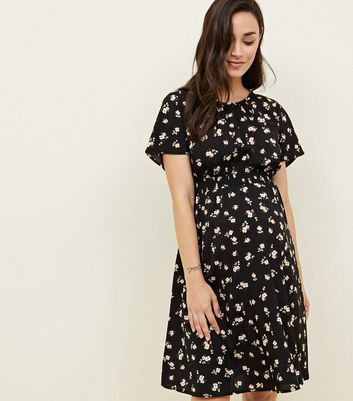 Maternity Black Floral Shirred Waist Dress