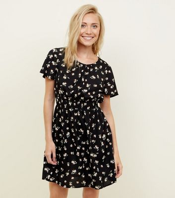 Petite Black Ditsy Floral Dress