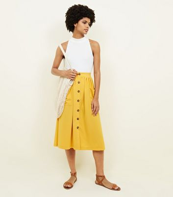 Yellow Button Through Pocket Midi Skirt