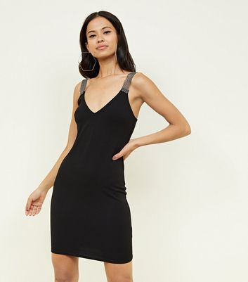 Black Diamanté Strap Bodycon Dress