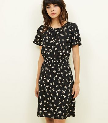Tall Black Ditsy Floral Shirred Waist Dress