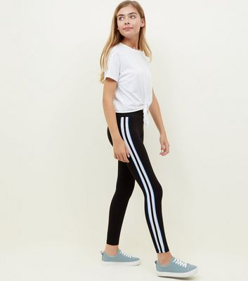 Teens Black Side Stripe Piping Leggings