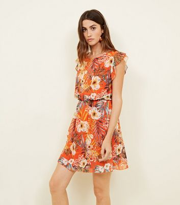 Cameo Rose Orange Tropical Print Frill Sleeve Dress