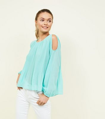 Apricot Mint Green Pleated Cold Shoulder Top