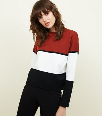 Brown Colourblock Knitted Jumper