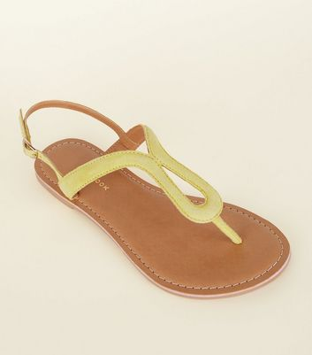 Wide Fit Yellow Suedette Loop Front Sandals