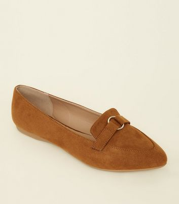 Wide Fit Tan Suedette Ring Strap Pointed Loafers by New Look