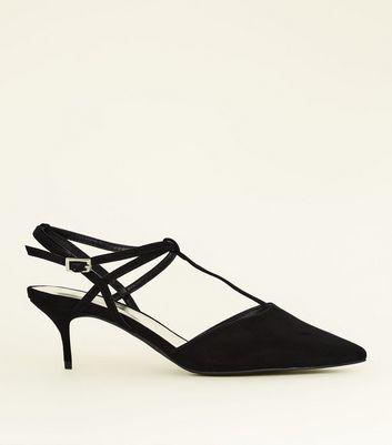 Wide Fit Black Suedette T Bar Kitten Heels by New Look