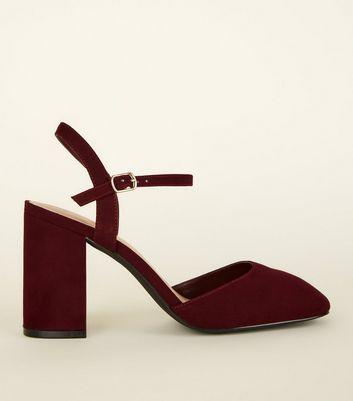 Wide Fit Dark Red Suedette Block Heels by New Look