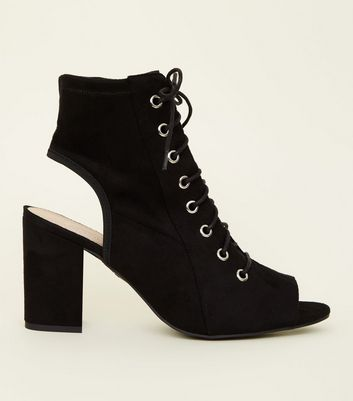 Wide Fit Black Suedette Lace Up Peep Toes