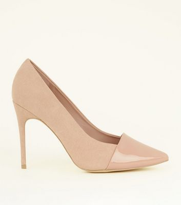 Wide Fit Nude Suedette Contrast Toe Pointed Courts by New Look