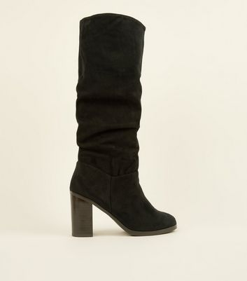 Black Block Heel Knee High Slouch Boots