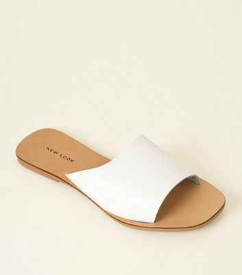 White Leather Square Toe Mules