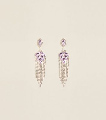 Lilac Diamanté Chandelier Chain Earrings