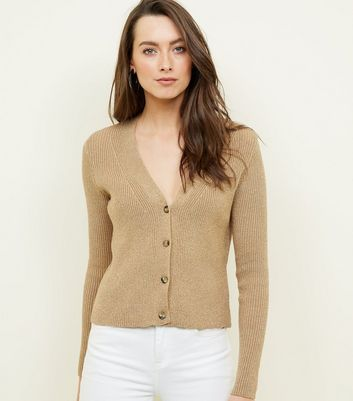 Gold Button Through Ribbed Cardigan