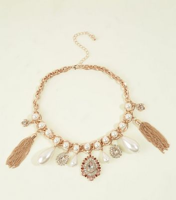 Gold Faux Pearl and Crystal Vintage-Look Charm Necklace