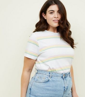 Curves White Contrast Stripe T-Shirt