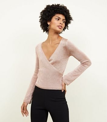 Cameo Rose Bronze Wrap Front Jumper