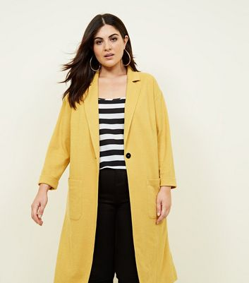 Curves Mustard Cross Hatch Duster Jacket