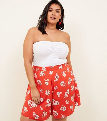 Curves Red Floral Wide Leg Shorts