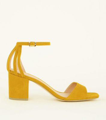 Wide Fit Mustard Cage Back Mid Heel Sandals