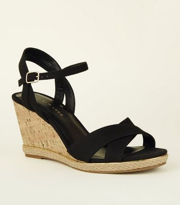 Wide Fit Black Suedette Cross Strap Cork Wedges