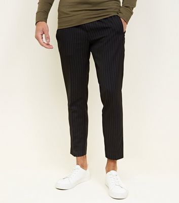 Black Pinstripe Drawstring Trousers