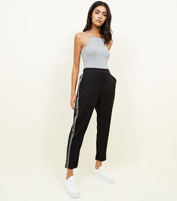 Black Rainbow Tape Side Stripe Trousers by New Look