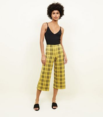 Yellow Check Jersey Cropped Trousers